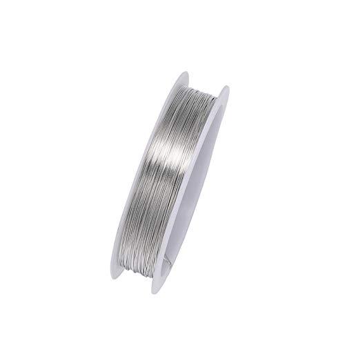 tooloflife Rollo de alambre de cobre resistente al deslustre para joyería, para manualidades, abalorios de plata, 0,2/0,25/0,3/0,4/0,5/0,6/0,7/0,8/1,0 mm, 9 unidades.