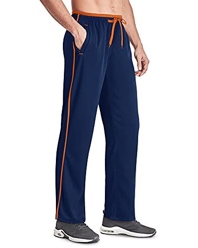 FASKUNOIE Pantalones de deporte para hombre, de malla, ligeros, de secado rápido, pantalones de entrenamiento largos con bolsillos con cremallera, Navyblue-orange, L