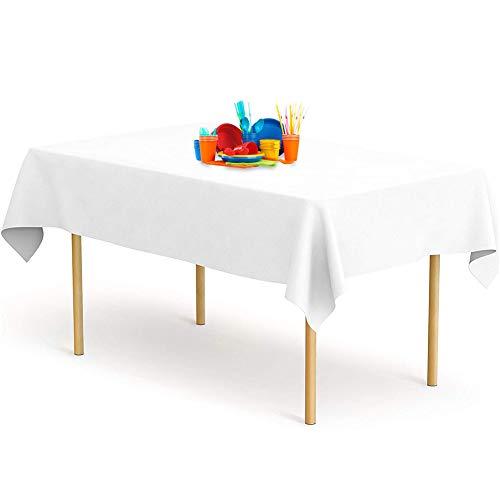 YANGTE Juego de 8 manteles desechables rectangulares de plástico de 54 x 108 pulgadas para mesas de interior o exterior, cumpleaños, bodas, picnic, Navidad (blanco)