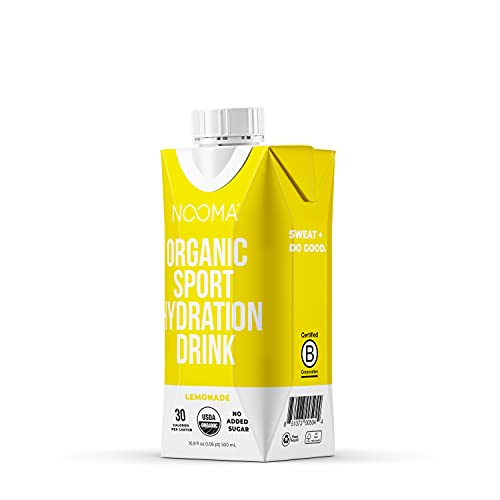 NOOMA Organic Electrolyte Sports Drink | Naturally Hydrating, Coconut Water Base | Certified Keto, Vegan, Gluten Free and More | No Added Sugar, 30 Calories | Lemonade 16oz (Pack of 12)