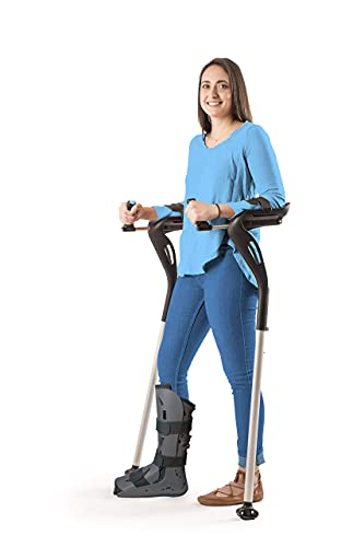 """Forearm Crutches Adult, 1 Pair Hands Free Crutches Adult, Ergonomic Walking Cane, 2 Walking Support Forearm Crutches for Adults, Fits (4'11""""- 6'8"""") Adjustable Crutches, Mobility Device (Black)"""