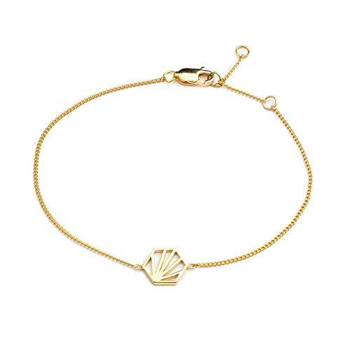 RACHEL JACKSON Women's Sterling Silver Serenity Hexagon Chain Bracelet Gold