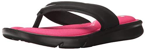 Nike Women's Ultra Comfort Thong Athletic Sandal, Black/White/Vivid Pink, 5 B US