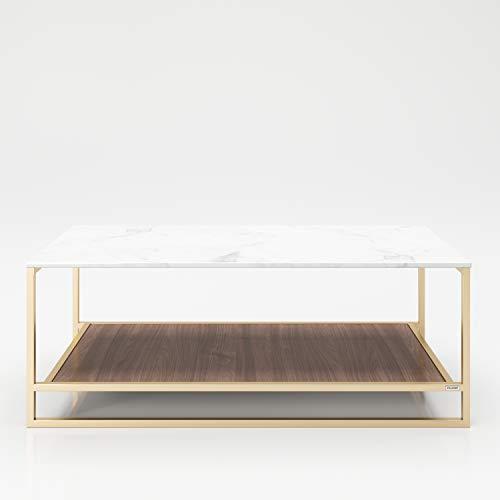 PLAYBOY 215802NBW Tavolino con 2 ripiani, decorazione noce, oro, marmo, 120 x 45 x 60 cm