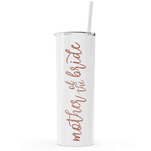 Mother of The Bride Skinny Steel Tumbler with Straw