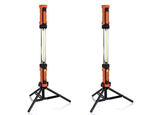 Set van 2 360° LED-werklampen met statief, magneet & haken, oplaadbaar via USB