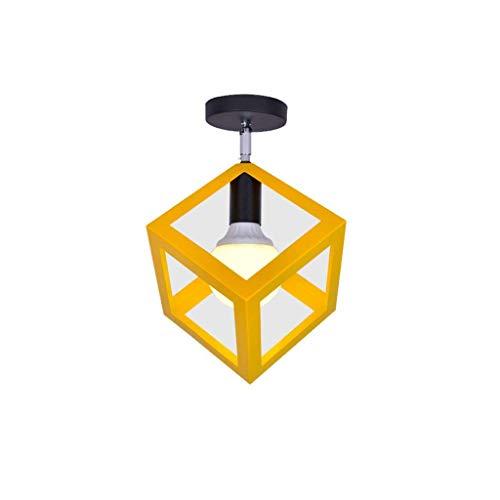 YANQING Duurzame plafondlampen Vierkante metalen plafondlamp, creatieve plafondlamp voor gangveranda, gepersonaliseerde plafondverlichting kroonluchter plafondlampen (kleur: zwart), kleur: Geel