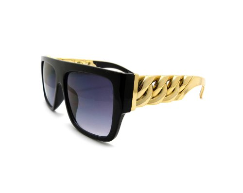 High Fashion Metal Chain Arm Flat Top Aviator Sunglasses (Shiny Black Gold)