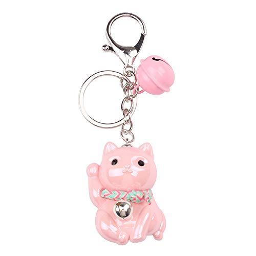 Skyeye Acryl Glückskatze Modell Keychain Bag Anhänger Dekoration Schlüsselbund Keychain Rucksack Anhänger Mädchen Schlüsselanhänger Handy Auto Ornamente Zubehör Taschenanhänger Rosa