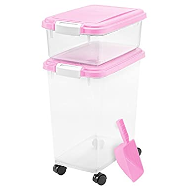IRIS USA, Inc. 3- Piece Airtight Pet Food Storage Container Combo, Pink