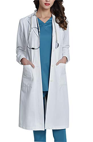 WWOO Laborkittel Damen Baumwolle weiß Arztkittel Arbeitskleidung Medizin kittel Weiss Fabric-Aktualisierung Dicke XL - 2