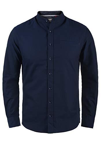 Blend Dubbal Herren Hemd Langarmhemd Freizeithemd mit Stehkragen, Größe:S, Farbe:Navy (70230)