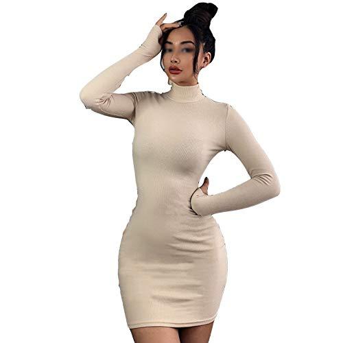 TR-yisheng Vestido De Mujer, Vestido De Todo Fósforo con Cuello Alto De Albaricoque Sexy Falda Blanca Delgada De Un Solo Paso Vestido De Cadera De Manga Larga con Hilos De Color Sólido