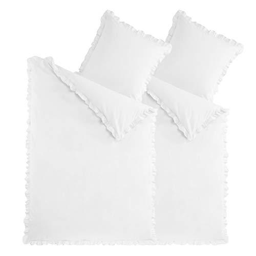 optidream 2-TLG. Bettwäsche Set Rüschen 135x200 mit Reißverschluss 100% Baumwolle Uni Weiss