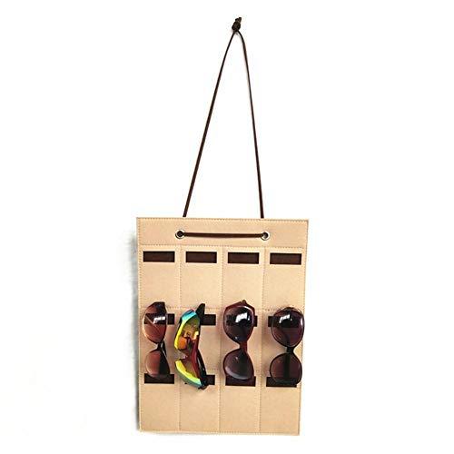 Fllyingu – Gafas de sol colgantes, organizador de gafas de sol, de fieltro, para colgar en la pared, 12 ranuras en bolsa de almacenamiento, A: tiefes Kamel + braun