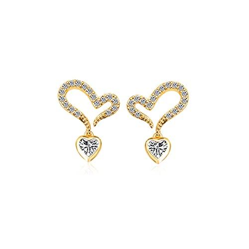 LKXSWZQ 5 unids Exquisito Pequeño Peach Heart Pendientes Moda Simple Amor En Forma de corazón Micro-INlaya Pendientes de Zircon S925 Silver Light Pendientes de Lujo