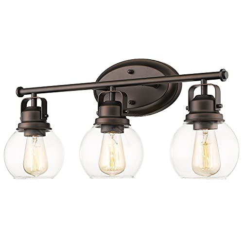Audickic Farmhouse Bathroom Vanity Lamp, 3-Light Wall Mounted Vanity Lighting Fixture Over Mirror, Metal Frame with Clear Glass, AD-2148-3W