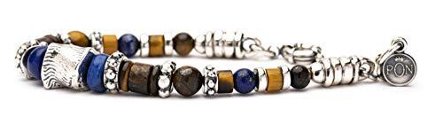 Pulsera Portonovo de una sola vuelta para mujer, serie étnica, piedras de 6-8 mm, ojo de tigre, lapislázuli y plata. Longitud: 17-19 cm.
