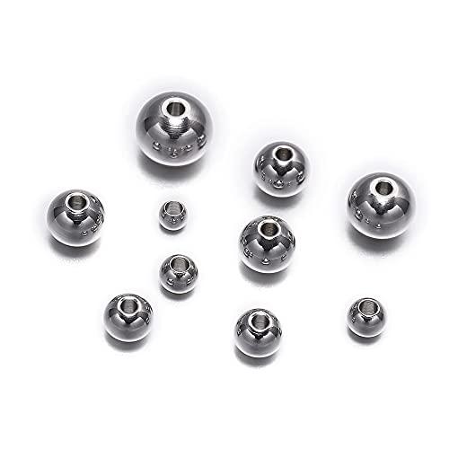 JOMOSIN QW817 - 30 – 100 cuentas redondas de acero inoxidable, espaciadoras sueltas para hacer joyas, pulseras, cuentas de agujero grande, accesorios de joyería (color 5 mm x 50 piezas)