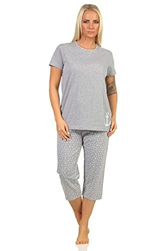 Damen Capri Pyjama Schlafanzug Kurzarm in zeitlosem maritimen Look - 66259, Farbe:grau, Größe:40-42