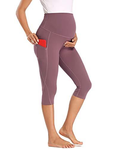 Love2Mi Pantalones de entrenamiento para mujeres embarazadas, pantalones de yoga de 3/4 con bolsillos rosa oscuro XL