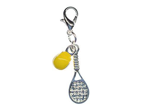 Miniblings Tennisschläger und Tennisball Charm Anhänger Tennis emailliert 2er