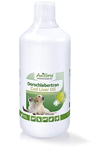 AniForte Dorschlebertran für Hunde, Katzen & Pferde 1L - Natürliche Quelle, Barföl mit Vitaminen & Omega-3 Fettsäuren EPA & DHA, Unterstützung Knochenaufbau, Abwehrkräfte & Immunsystem