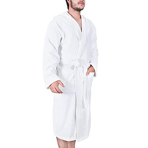 Komfortec Albornoz para hombre con capucha, mullido, 100 % algodón suave, para sauna, de calidad, de secado rápido, talla XL, color blanco