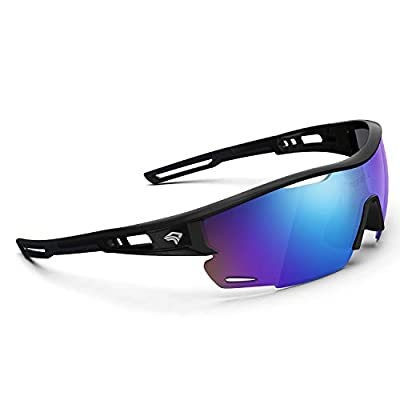 Polarized Sports Sunglasses for Men Women - UV Protection Cycling Sunglasses for Running Fishing Cycling Driving Baseball Golf Glasses TR90 Frame TR21 SNIPER (Bright Black&Black&Blue Revo lens)