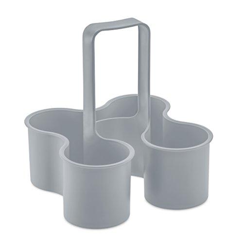koziol Flaschenträger Caddy, Kunststoff, cool grey, 24 x 24 x 26.1 cm
