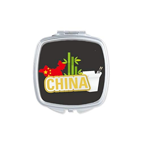 DIYthinker China Kaart Bamboe Geel China Stad Vierkant Compact Make-up Spiegel Draagbare Leuke Hand Pocket Spiegels Gift