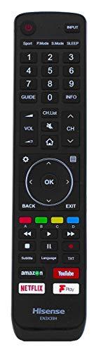 Genuino EN3X39H Mando a Distancia por Hisense TV with DMP Youtube Netflix Fplay Buttons H50U7AUK H55U7AUK H65U7AUK H43A6550 H43A6500 5U7AUK 50U7AUK 65U7AUK