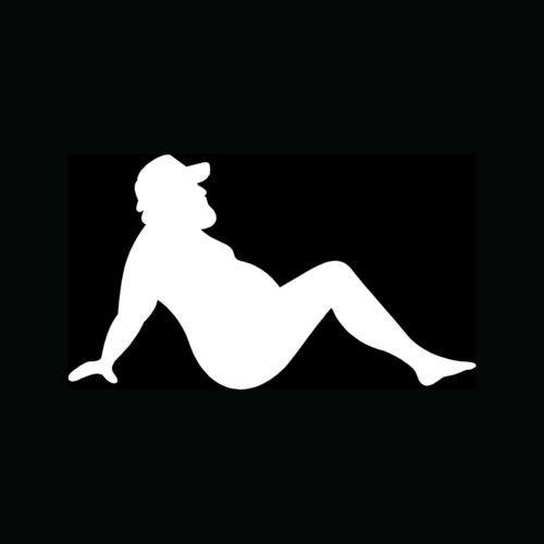 Keen MUD Flap Man Sticker Funny Trucker Vinyl Decal Fat Joke Mudflap Sexy Car Window - Die Cut Vinyl Decal for Windows, Cars, Trucks, Tool Boxes, laptops, MacBook - virtually Any Hard, Smooth Surface