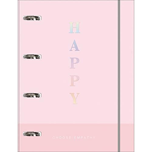 Caderno Argolado Cartonado Universitário com Elástico, Tilibra, Happy, 305626, 20x27.5cm, Rosa Pastel, 80 Folhas