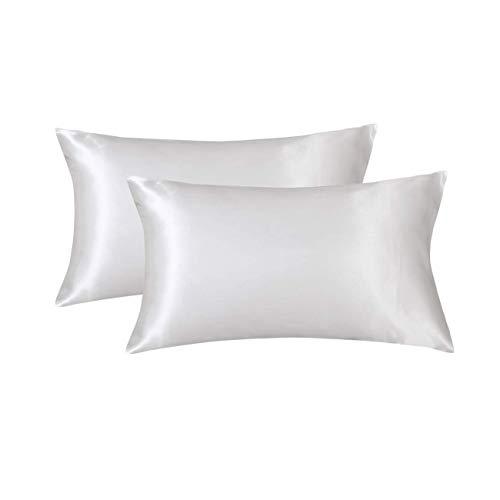 Fundas de almohada de satén de seda para el cabello y la piel (blanco, 50,8 x 76,2 cm), fundas de almohada de satén con cierre de sobre