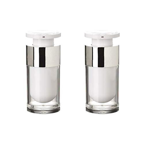 SUPVOX 2pcs vide bouteilles de voyage sous vide contenant de toilette acrylique presse bouteilles pour lotion cosmétique blanc 15ml