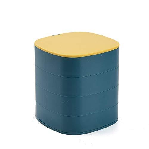 Yunly Caja organizadora de joyas, 4 capas, bandeja de almacenamiento de joyas, rotación de 360 grados para anillos, pendientes, collares, pulseras (12 x 11 cm)
