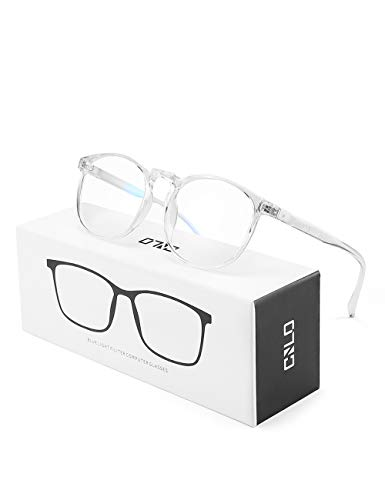 CNLO Blue light blocking Glasses,Computer Glasses ,Radiation protection Gaming Glasses, for UV Protection, Anti Eyestrain, Lightweight Frame Eyewear,Men/Women (Crystal)