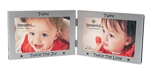 benerini Twins Photo Frame Gift - 'Twice The Joy' 'Twice The Love' - 6 x 4 inch Double Picture Frame Keepsake