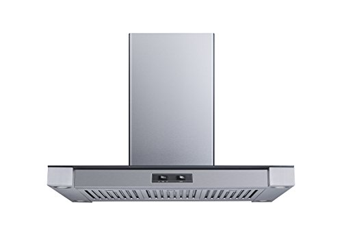 Winflo 36 In. Convertible Stainless Steel Glass Island Range Hood with Stainless Steel Baffle Filters