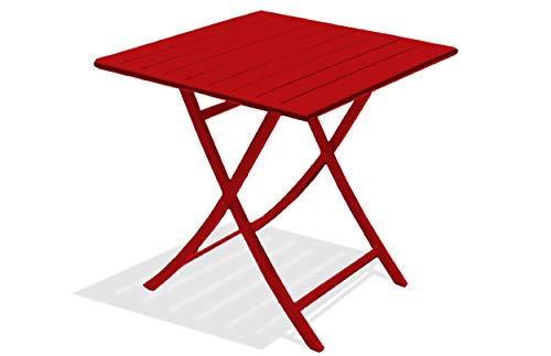 DCB GARDEN Marius Table de Jardin, Aluminium, Rouge, 70x70