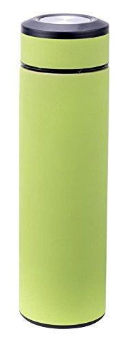 Culinario Thermoflasche mit Tee-Einsatz, aus Edelstahl/Kunststoff, doppelwandig, trendiges Design, 0,48 Liter, in grün
