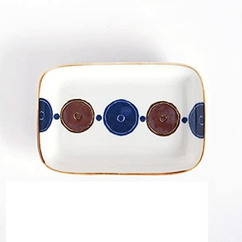 Aiglen Estilo japonés diseño Creativo Retro Hecho a Mano vajilla de cerámica Rectangular Plato pequeño Plato Plato doméstico (Color : B)
