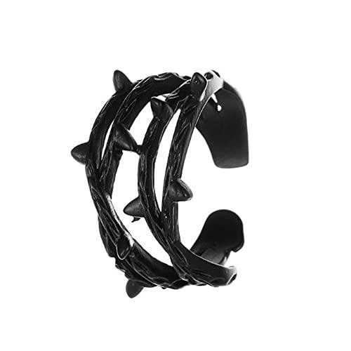 xiangwang Anillo de espina retro ajustable con corona de espinas, anillo de rama, anillos abiertos para mujeres (color principal de la piedra: negro, tamaño del anillo: ajustable)