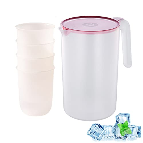Jarra De Agua De Plástico Con 4 Tazas, Tetera Jarra Transparente Con Tapa, Alta Capacidad Para Servir Agua, Jugo, Té Helado Y Otras Bebidas Frías (Rosa,2500ml)