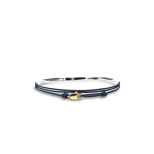 Made by Nami Dünnes Wickel-Armband Herren & Damen mit Karabiner-Haken Verschluss Handmade - Maritimer Surfer Schmuck - Minimalistisches Stoff-Armband - 100% Wasserfest & verstellbar (Blau Gold)