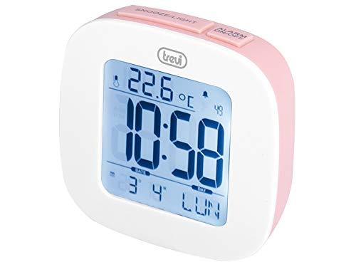 Trevi SLD 3860 Orologio con Display Retroilluminato, Termometro, Calendario Multilingue, Funzione Snooze, Rosa