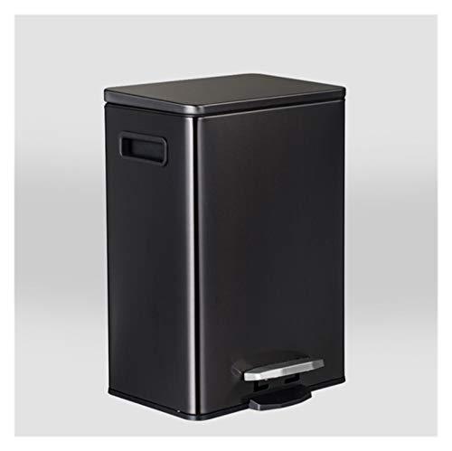 Withou Bote de Basura de Acero Inoxidable 30 litros de 15 litros 12 litros 9 litros, Adecuado para Familia, Cocina. (Color : Black, Size : 12L)