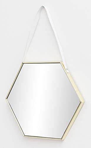 FineBuy Wandspiegel FB15929 48x57x4 cm Spiegel mit Rahmen Gold Flurspiegel Sechseckig | Hängespiegel Flur zum Aufhängen Groß | Garderobenspiegel Wand Modern | Dekospiegel Wohnzimmer Schlafzimmer