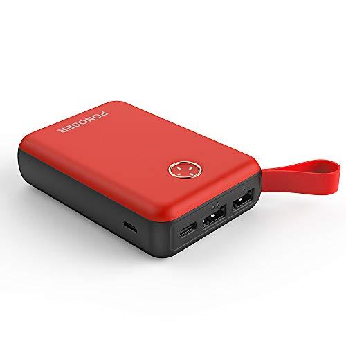 Ponoser Power Bank 10000mAh Caricabatterie Portatile,Ultra-Compact Mini Batteria Esterna Carica Veloce Batteria Portatile con 2 USB Porte per Iphone, Samsung, Huawei, Xiaomi e Altri Smartphone (rosso)